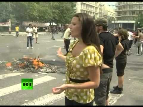 Greece riots: RT crew under attack